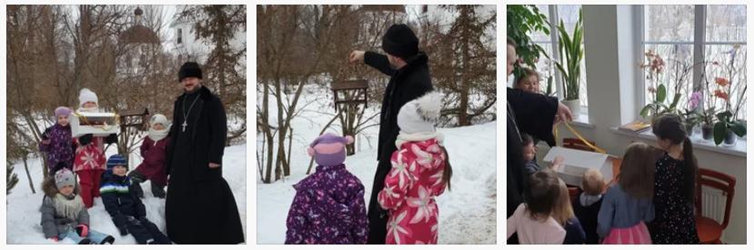3 февраля 2019 года учащиеся воскресной школы Никольского храма деревни Кулаково повесили на подворье храма и близрастущих деревьях кормушки для птиц