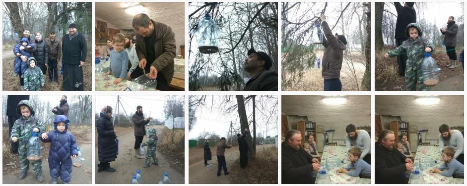 22 декабря на приходе Никольского храма с. Батюшково Яхромского церковного округа дети делали и развешивали кормушки для птиц